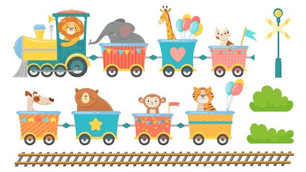 Animales lindos en tren. animal feliz en vagón de ferrocarril, pequeñas mascotas viajan en conjunto de ilustración de vector de dibujos animados de locomotora de juguete