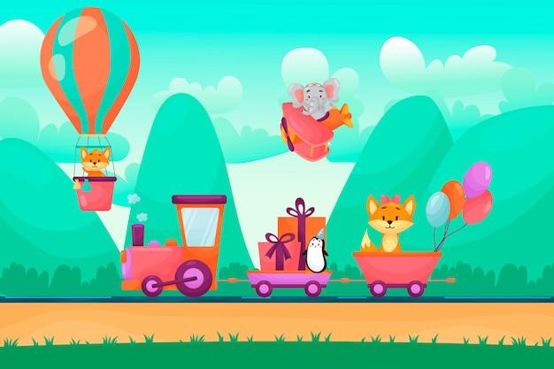 Animales lindos van en tren a la fiesta de cumpleaños. animales volando en globo y avión en las montañas.