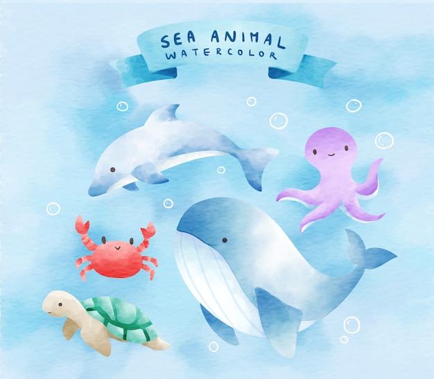 Animales de mar en conjuntos de acuarela