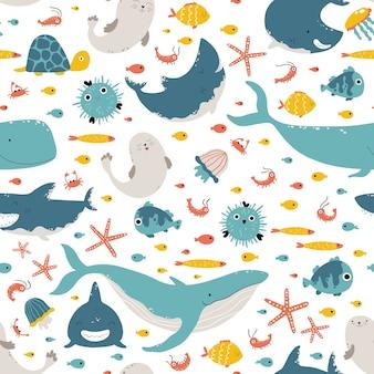Animales marinos y peces.