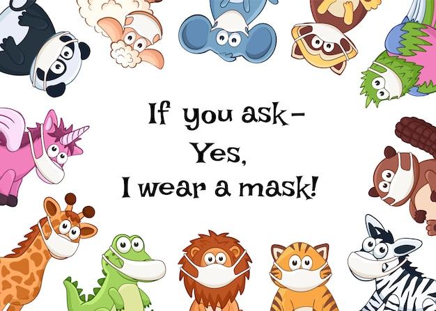 Animales en máscaras médicas