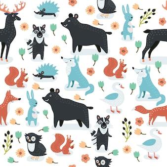 Animales de patrones sin fisuras de ilustraciones de animales de dibujos animados lindo