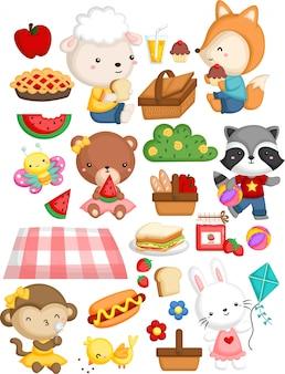 Animales reunidos en un tema de picnic