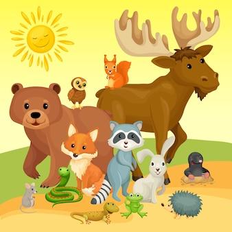 Animales salvajes en el borde del bosque.