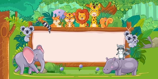 Animales salvajes con un cartel de madera en blanco en la selva.