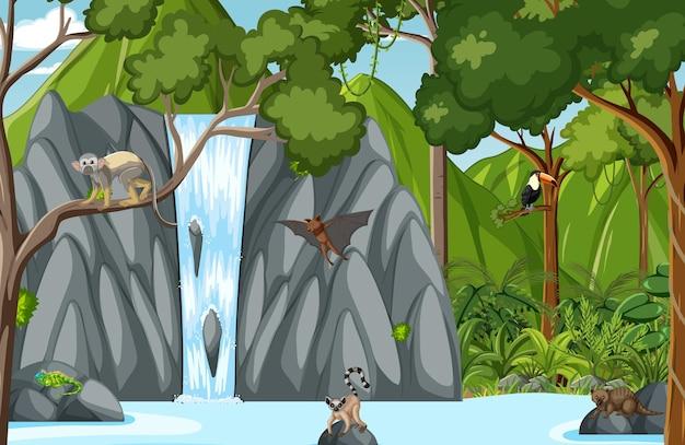 Animales salvajes con cascada en la escena del bosque.