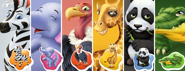 Animales salvajes. cebra, elefante, buitre, jirafa, panda, cocodrilo. conjunto de iconos