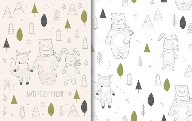 Animales salvajes dibujados a mano en tarjeta de bosque y patrones sin fisuras.