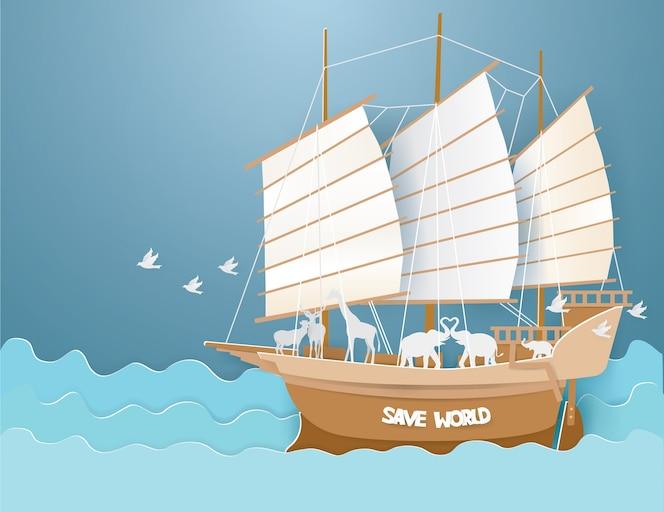 Animales salvajes en barque en el mar azul
