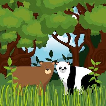 Animales salvajes en la escena de la selva.