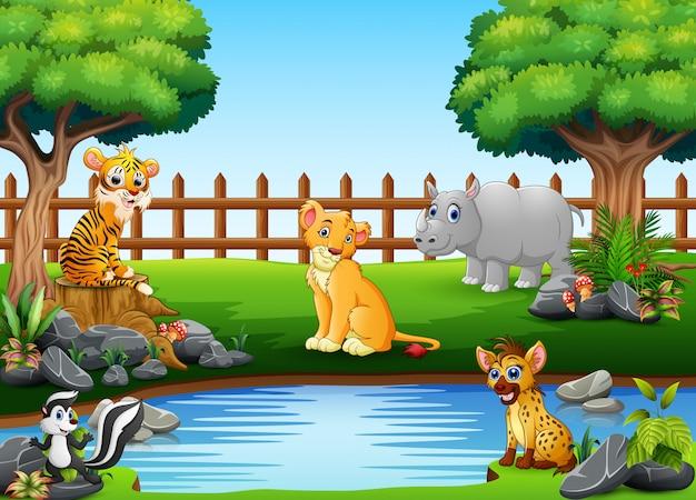 Animales salvajes jugando al borde de un hermoso estanque pequeño