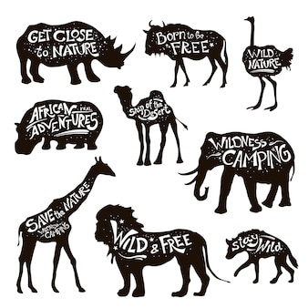 Animales salvajes letras negro conjunto de iconos