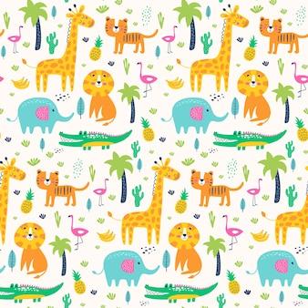 Animales salvajes de patrones sin fisuras en la selva. ilustraciones de niños