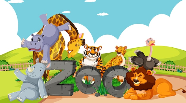 Animales salvajes con signo de zoológico.