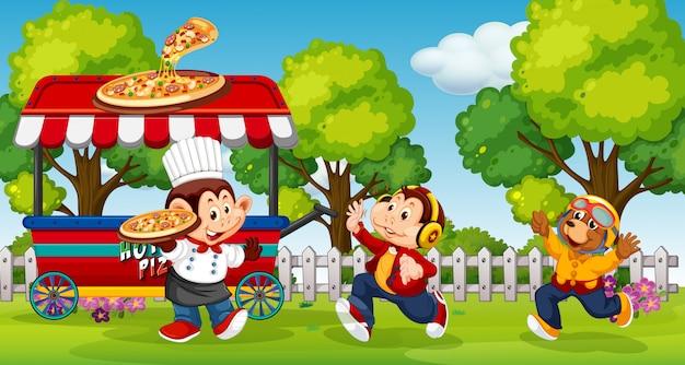 Animales sirviendo pizza en el parque