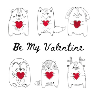 Animales valentinos comic cartoon vector illustration set