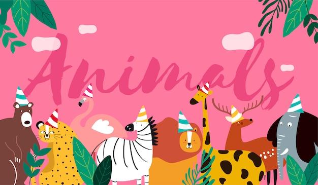 Animales en un vector de estilo de dibujos animados