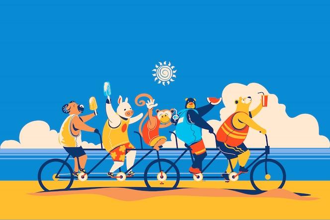 Los animales de verano van en bicicleta junto con la bicicleta tándem y disfrutan del verano con frutas y helados.
