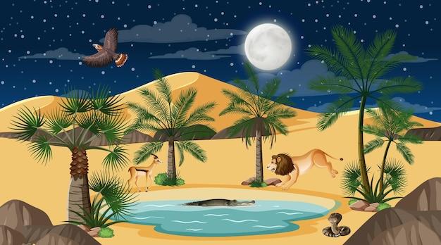 Los animales viven en el paisaje del bosque desértico en la escena nocturna.