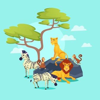 Animales del zoológico africano sobre fondo de naturaleza, vida silvestre
