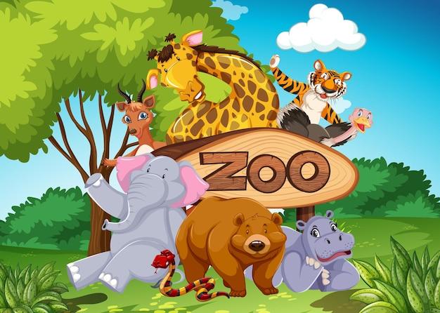 Animales del zoológico en el fondo de la naturaleza salvaje.