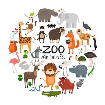 Animales del zoológico plano concepto redondo con jirafa leopardo jabalí ardilla hipopótamo iguana león ciervo elefante mono zorro mapache murciélago aves ilustración