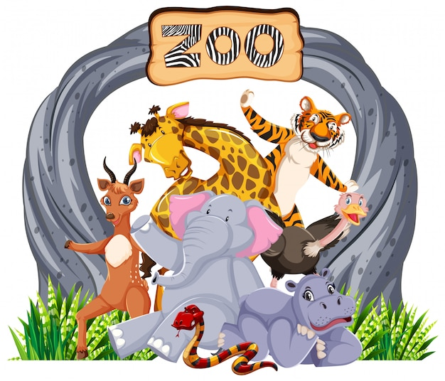 Animales del zoológico en la señal de entrada