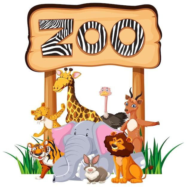 Animales del zoológico en la señal de entrada.