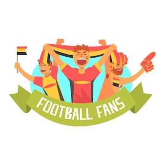 Animando feliz multitud de seguidores de fanáticos del equipo de fútbol alemán y devotos con pancartas y atributos