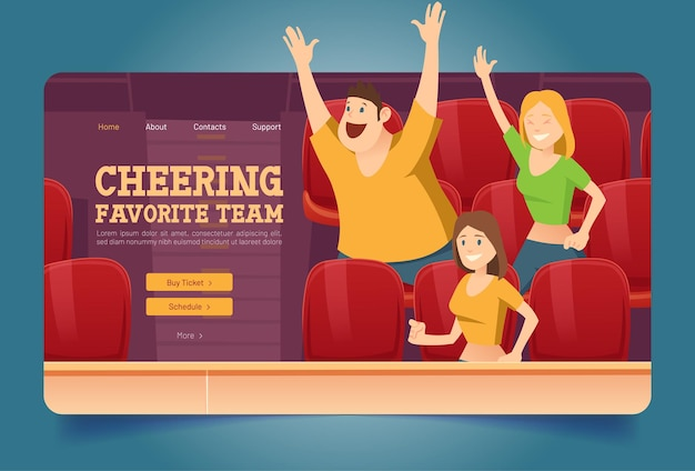 Animar el sitio web del equipo favorito con la gente en el estadio