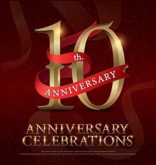 Aniversario de 10 años aniversario logo dorado