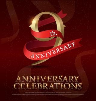 Aniversario de 9 años aniversario logo dorado