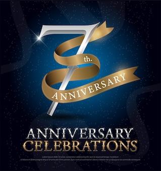 Aniversario celebración plata y cinta dorada