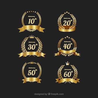 Aniversario de oro elegante conjunto vector de la etiqueta