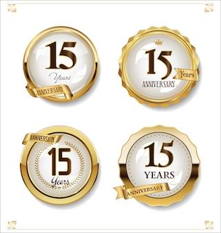 Aniversario oro etiquetas retro vintage diseño colección