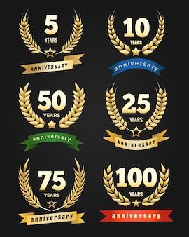 Aniversario pancartas doradas