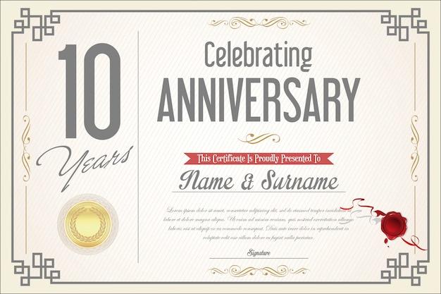 Aniversario retro vintage 10 años