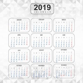 Año 2019, calendario hermoso diseño