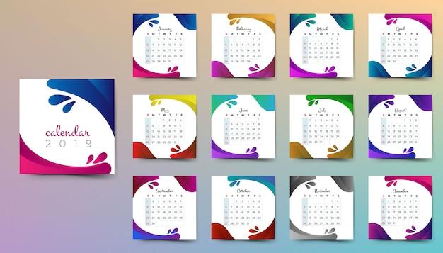 Año 2019, calendario hermoso diseño.