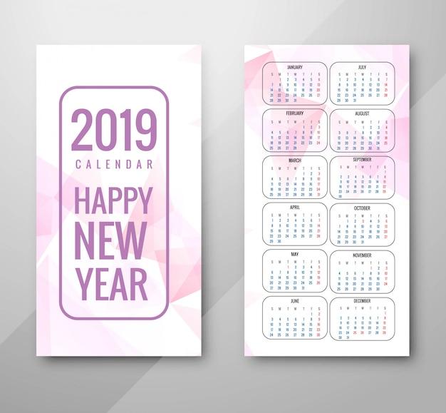 Año 2019, diseño de calendario