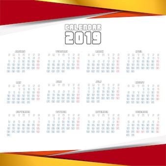 Año 2019, diseño creativo de calendario