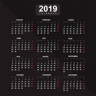 Año 2019, fondo de vector de calendario