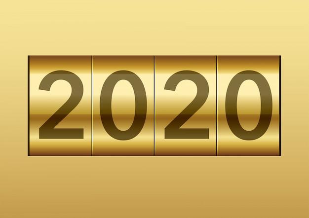 El año 2020 se muestra en un contador mecánico, ilustración vectorial.