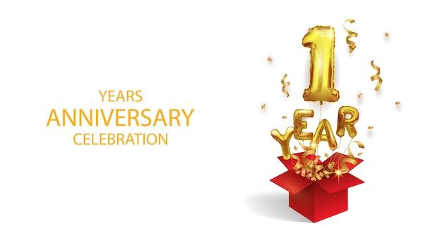 Un año de nacimiento. globo de lámina voladora número 1. número uno de oro de globo inflable aislado sobre fondo blanco.