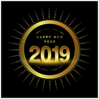 Año nuevo 2019 diseño dorado con círculo.