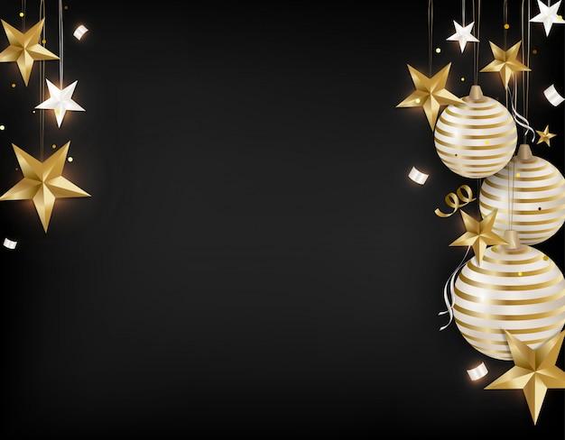 Año nuevo 2020. bolas de navidad, estrellas 3d, serpentina, confeti, destellos.