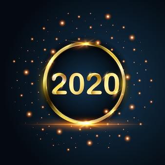 Año nuevo 2020 círculo oro brilla sobre fondo azul