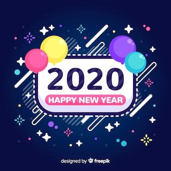 Año nuevo 2020 en diseño plano con globos