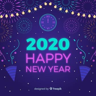 Año nuevo 2020 en diseño plano