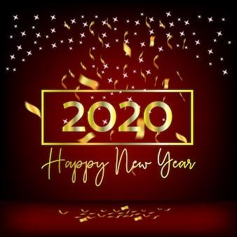 Año nuevo 2020 diseño rojo cortinas y cintas doradas.